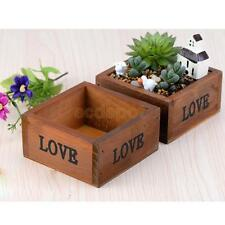 Rustic Natural Wooden Garden Planter Box Herb Floral Succulent Plant Container
