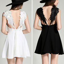 New Womens Sexy Angel Wings Party Evening Clubwear Cocktail Mini Dress Backless