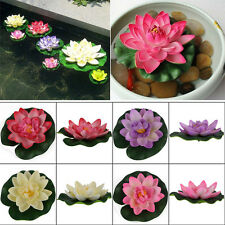 1x Artificial Fake Lotus Water Lily Float Flower Yard Pond Plant Decor 8Color