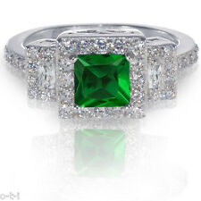 Emerald Green Princess Cut Simulated Diamond Genuine Sterling Engagement Ring