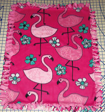 "Flamingos Fleece Blanket Baby Pet Lap Security Hand Tied Pink 30"" x 24"""