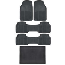 Set of 5 Rubber Floor Mats Front Pair Runners Trunk Cargo Liner MotorTrend Black