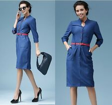 Classic Womens Wiggle Pencil Dress OL Career Wear to Work Dresses Goddess