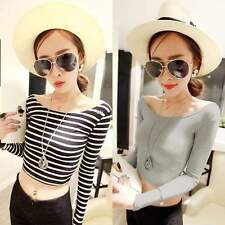 New Women's Sexy  Boat Neck Crop Striped Long Sleeve Slim Blouse Tops T Shirt