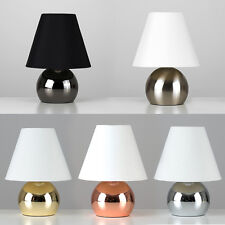Contemporary Touch Table Lamp Gold Chrome Copper Bedside Light Tapered Shade