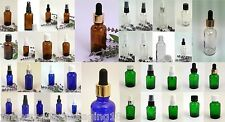 30ml Glass Dropper Bottles BLUE AMBER GREEN CLEAR  for Aromatherapy/Homeopathy