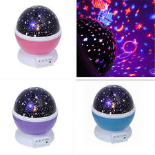 3 Mode LED Rotating Star Light Color Changing Projection Lamp Night Bedside Room