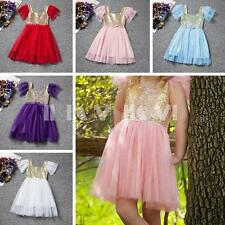 Baby Girl Kid Toddler Princess Wedding Party Skirt Tulle Dresses Gown SZ 12M-4Y