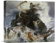 'Mermaids at Play' by Arnold Bocklin Painting Print on Wrapped Canvas