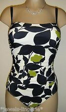 NEW RESORT DRAPED SWIMSUIT SIZE 8 BLACK/GREEN/CREAM MOULDED SOFT CUP COSTUME