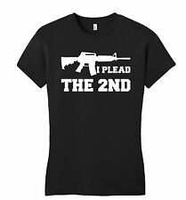 I Plead The 2nd Juniors T Shirt Gun Rights Second Amendment AR15 Petite Tee