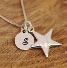 925 Sterling Silver Personalised Wishing Star Pendant Necklace & Initial Tag