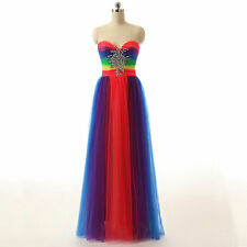Colorful New Long Prom Dress Bridesmaid Strapless Formal Party Prom Evening Gown