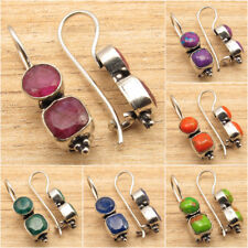 925 Silver Plated PURPLE COPPER TURQUOISE & Other Gemstone Variation Earrings