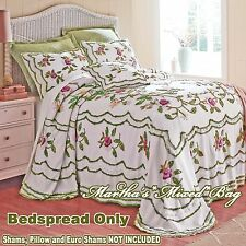 CHENILLE WHITE BEDSPREAD FLORAL ROSE 100% COTTON Vintage King/Queen/Full/Twin