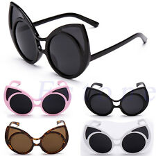 Women Retro Vintage Shades Oversized Designer Frame Cat Eye Sunglasses Eyewear