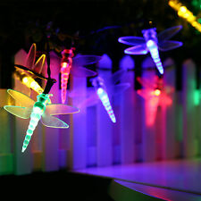 Solar Dragonfly 5M 30Led Colorful Led Fairy String Light Garden Xmas Tree Decor