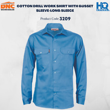 Cotton Drill Work Shirt With Gusset Sleeve - Long Sleeve Brand New 3209 dnc