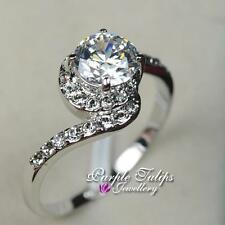1.25carat Made With Swarovski Lab Diamond bypass Ring, 18CT White Gold Plated