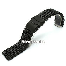 New 18 20 22 24mm Black Stainles Steel Strap Shark Bracelet Wristwatch Mesh Band