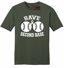 Save Second Base Cute Breast Cancer Awareness Mens Soft T Shirt Cause Boobies Z2