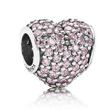 New Authentic Pandora Sterling Silver Pink Pave Heart Charm Bead  #  791052PCZ