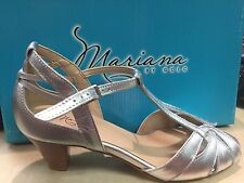 Mariana by Golc Women's Sybil Silver Leather Sandal