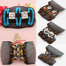 NT Easy Magic Wood Beads Double Hair Comb Clip Stretchy Women Hair Accessories