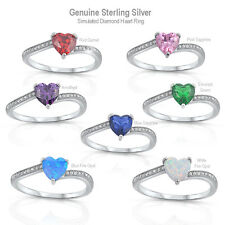 Simulated Diamond Heart / Opal Genuine Sterling Silver Ring