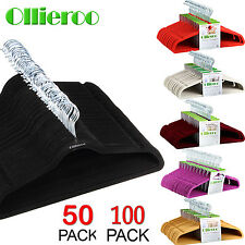 Ollieroo 50/100P Velvet Non-Slip Thin Clothes Clothing Hanger Space Save Hangers