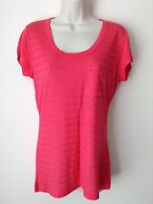 Calvin Klein Women`s Ladies Pink Stud Striped Top Tee T-Shirt Size Small Genuine