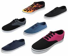 New Boys Girls Kids Skate Canvas Tennis Shoes Lace Low Top Up Sneakers Youth