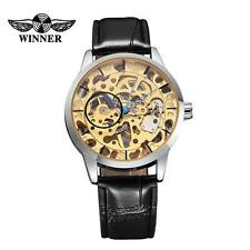 Luxury Men Ladies Skeleton Leather Band Mechanical Sport Casual Wrist Watch O0P4