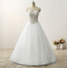 Women's A-line Beads Wedding Dress Strapless Bridal Dress Lace Up Back Customize