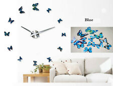 Home Decor Art Watch Colorful Butterfly Mirror Sticker Large DIY 3D Wall Clock