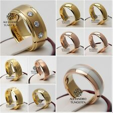Tungsten Ring Wedding Band Comfort 8MM 6MM Men's Gold Shiny Design Size 6 to 14