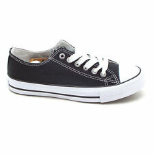 New Mens Black Canvas Sneakers Athletic Shoes KOREA made