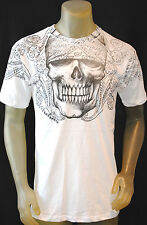 NWT ARCHAIC by AFFLICTION mens SKULL Paisley graphic t-shirt  White Skull *L