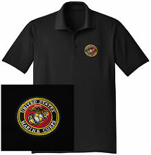 NEW US Marine Corps Embroidered Wicking DRYFIT Black Polo Shirt -Free Shipping!