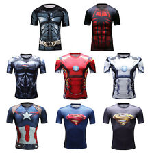 Superhero Compression Shirt Tight Top Base Layer Short Sleeve For Sport Fitness