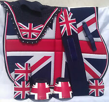 Union Jack  Saddle Cloth Set Fly Veil Bandages Overreach Boots COB PONY Equine