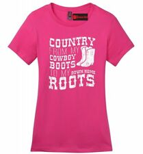 Country Cowboy Boots Roots Ladies Soft T Shirt Music Country Song Concert Tee Z4