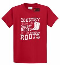 Country Cowboy Boots Home Roots T Shirt Music Country Song Concert Tee S-5XL