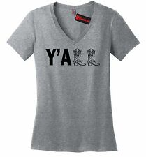 Yall Ladies V-Neck T Shirt Cute Country Western Cowboy Boots Redneck Gift Tee Z5