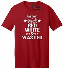 Time To Get Red White & Wasted Funny Mens V-Neck T Shirt July 4th Patriotic USA