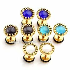 4Pairs Mixed Cat's Eye Stone Barbell Steel Fake Plugs Ear Golden Studs Earrings