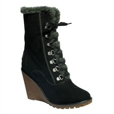 Ladies Pixie Tammy Black Buckled Faux Suede Fur Lined Wedged Boots