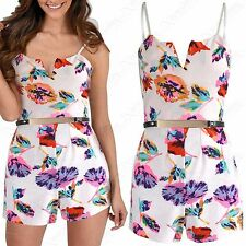 WOMENS FLORAL PRINTS BELTED PLAYSUIT SHAPED SLIT NECK LADIES STRAPPY TOP SHORTS