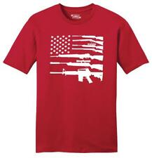 Gun American Flag Mens T Shirt Patriotic USA Flag American Pride Rights Tee Z2