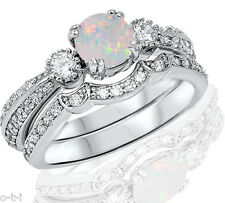 Round Simulated White Fire Opal Genuine Sterling Silver Engagement Ring Set